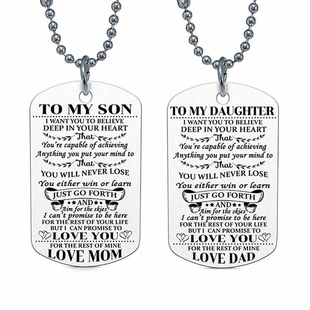 To My DAD DAUGHTER Pendant Engrave Letters Necklaces Tag Family Love Birthday Gift