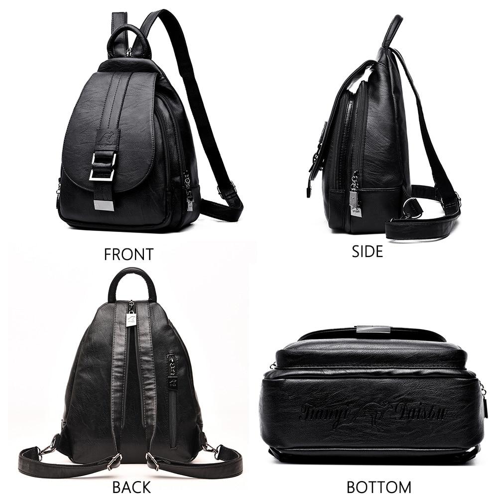 Image 4 - 2019 Designer Backpacks Women Leather Backpacks Female School Bag  for Teenager Girls Travel Back Bag Retro Bagpack Sac a DosBackpacks   -