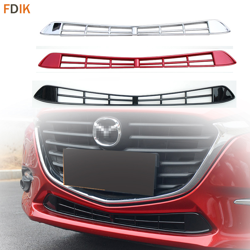 Sport Racing Front Bumper Lower Grille Mesh Grill Insert Cover Trim Garnish for Mazda 3 AXELA 2017 2018