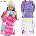 Baby Girl Cotton Long/Full Sleeve Dress Children Cartoon Animal Dress For Spring Autumn Baby Kids Stripe Dress Infant Soft Cloth