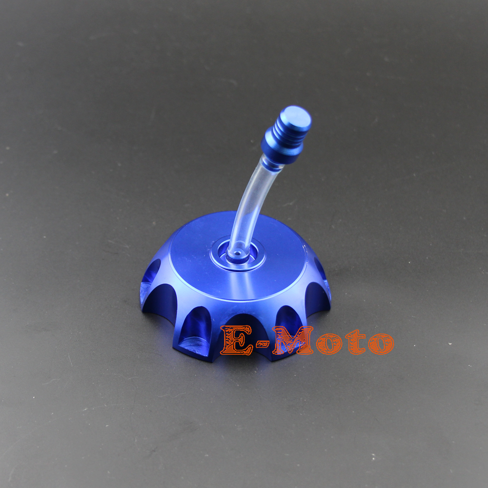 Gas Cap Vent with matching Billet Valve cap set Blue with black tube