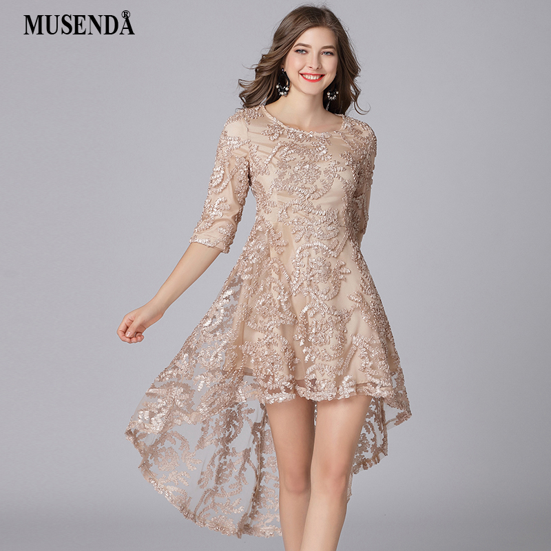 MUSENDA Plus Size Women Gold 3/4 Sleeve Tunic Irregular Hem Dress New 2018 Spring Female Party Dresses Vestido Robe Clothing 5XL