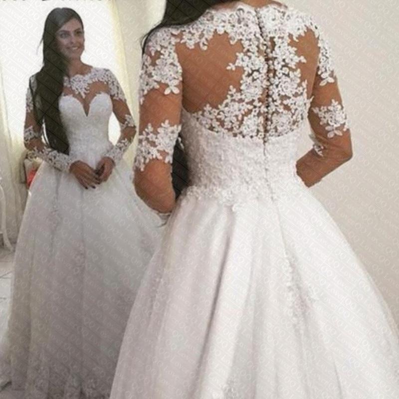 2019 Full Sleeve Button Lace Wedding Dress Bridal Gown Vestido De Noiva Robe De Soiree