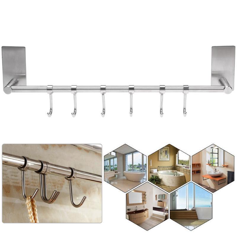 6 Hooks Wall Mounted Towel Hanger Stainless Steel Wall Door Clothes Coat Hat Hanger Kitchen Bathroom Rustproof Towel Hooks