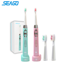 SEAGO IPX 7 Waterproof Teeth Brush Ultrasonic Rechargeable Power Toothbrush Adults Electric Sonic Toothbrush Dental Care SG917
