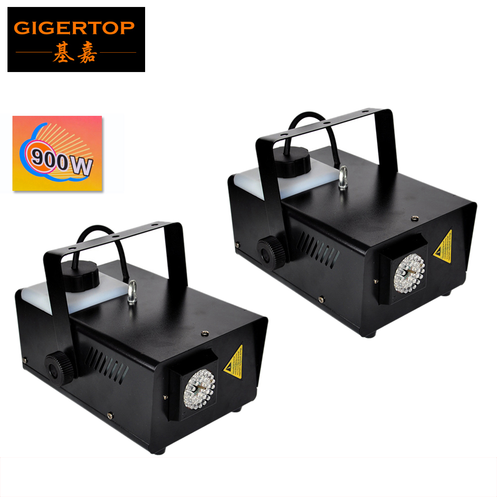 Gigertop 2 Pack 900W LED fog machine, Wireless Remote smoke machine professional DJ Equipment stage effect with 30pcs blue leds цена 2017