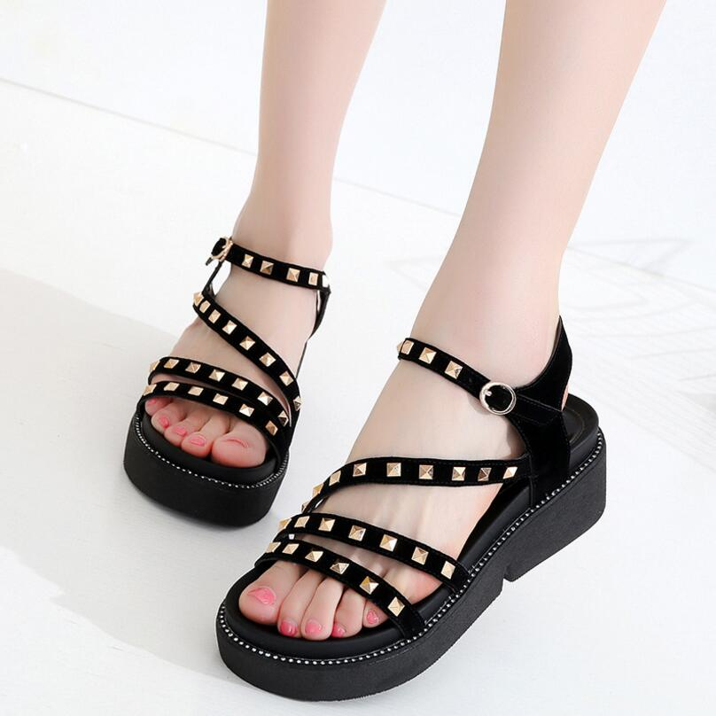 D&Henlu Gladiator Sandals Woman Summer Shoes Woman Casual Sandals Flat Sandal Platform Sandal Rivet sandalias mujer chaussure new women sandals low heel wedges summer casual single shoes woman sandal fashion soft sandals free shipping