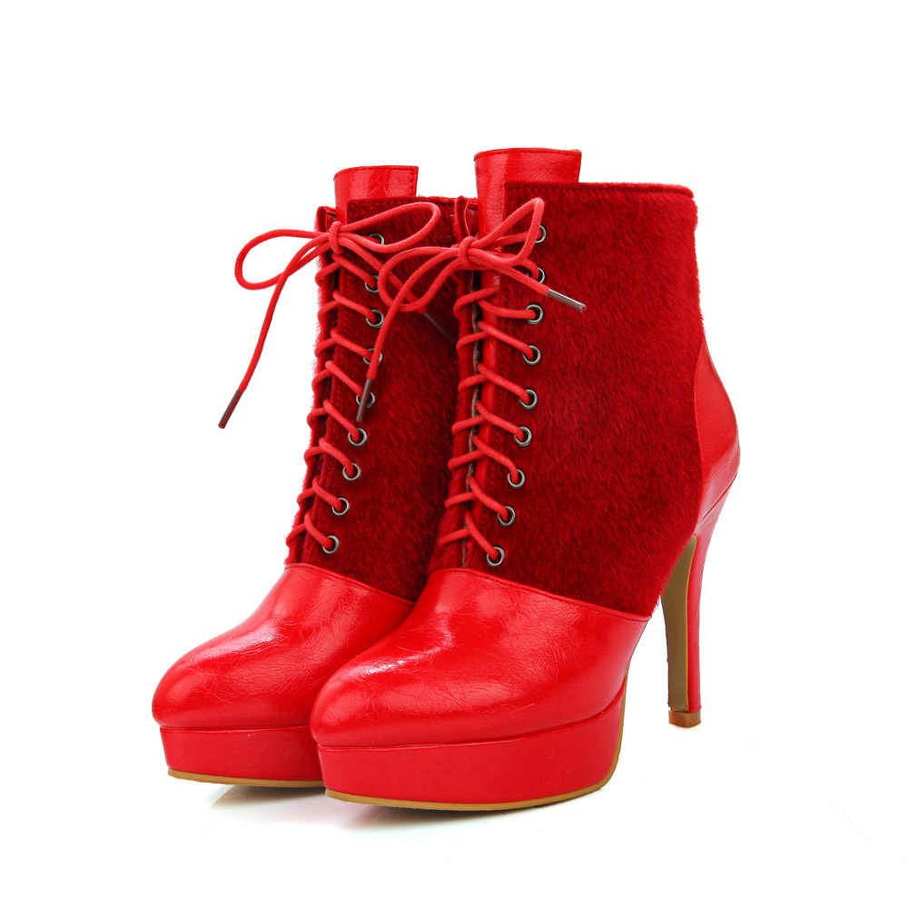Marka Yeni Sıcak Kadın Platformu yarım çizmeler Kırmızı Siyah Beyaz dantel Bayan Elbise Ayakkabı At Kürk Yüksek Topuklu EL3S Artı büyük boy 32 46