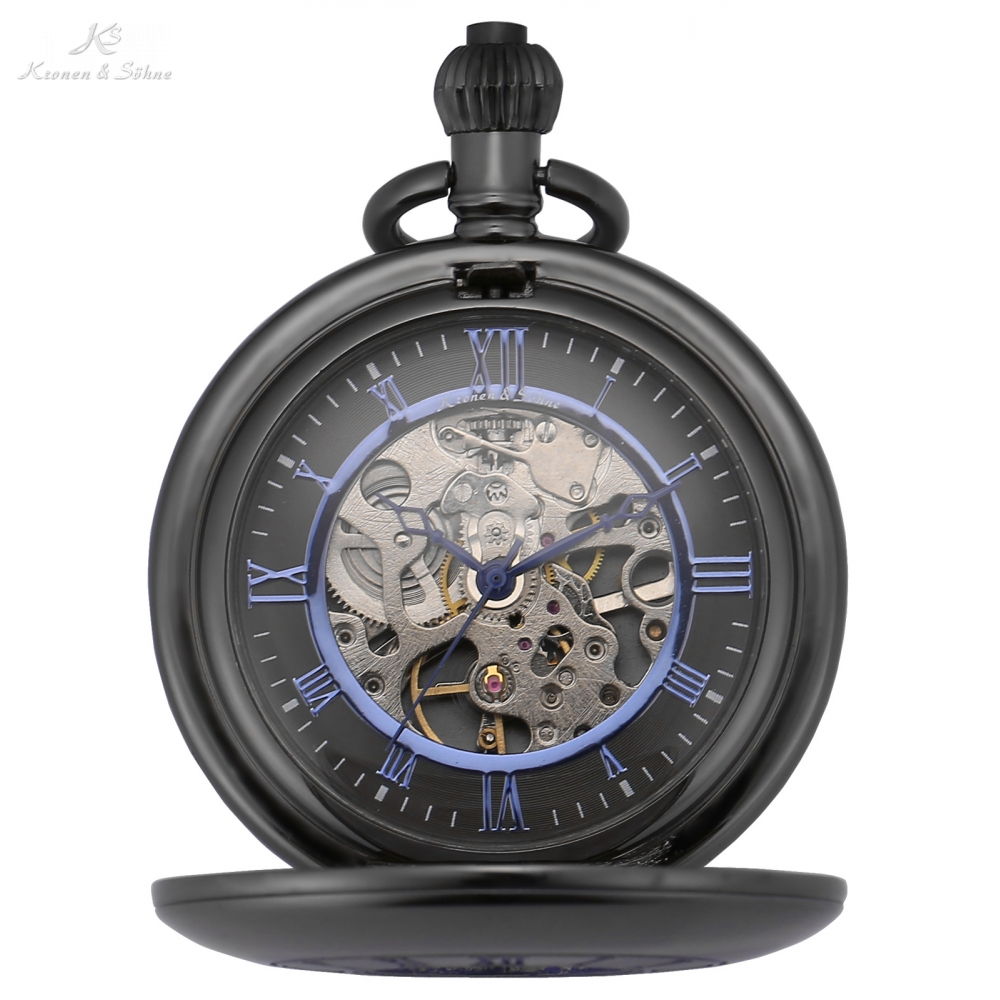 KS Vintage IP Gun Metal Hollow Skeleton Steampunk Blue Roman Analog Onion Crown Hand Winding Mechanical Pocket Watch Gift/KSP090 ks steampunk skeleton roman mechanical blue pocket watch men vintage hand winding clock fob watches with long chain box ksp071