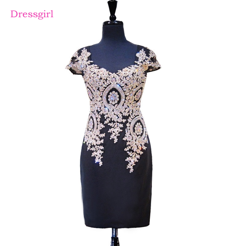 Black 2017 Elegant   Cocktail     Dresses   Sheath V-neck Cap Sleeves Short Mini Crystals Beaded Lace Homecoming   Dresses