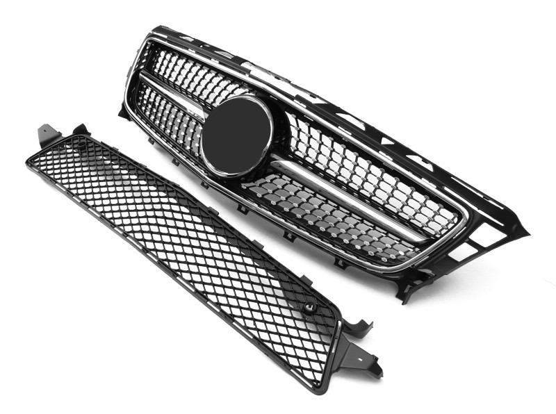 For CLS CLASS <font><b>W218</b></font> Diamond Mesh grille ABS Material 2012-2014 Front Racing <font><b>Grills</b></font> Replacement Front Grille Front Bumper image