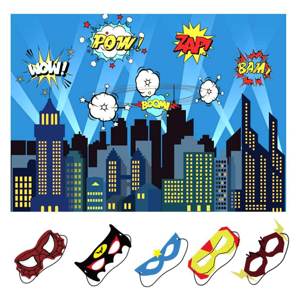 OurWarm Birthday Party Decoration Kids Boy 5x7ft City Photography Backdrop and Superhero Party Masks Superhero Backdrop