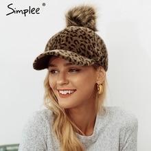 Simplee Leopard winter female hat 2018 for women Faux Fur ha