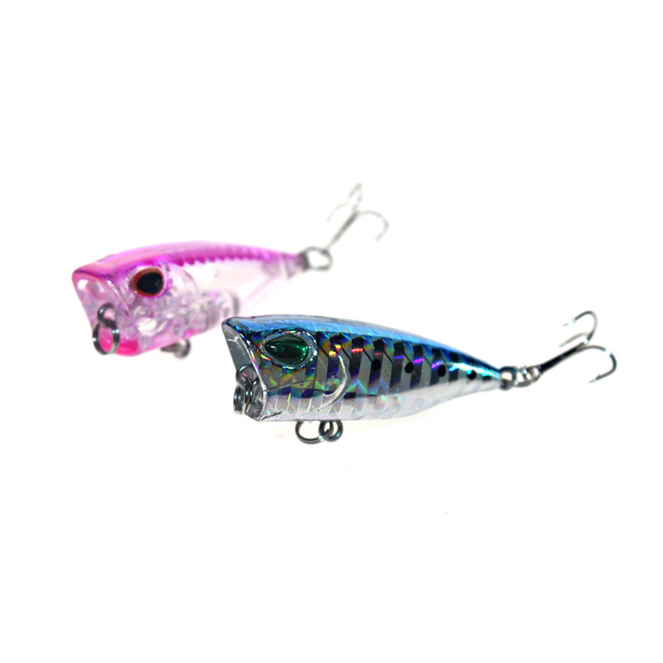 1PCS Mini Popper Fishing Lure Model Hard Bait 7 Colors 12# Hook Popper 3cm 4g Floating Top Water Baits