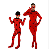 Miraculous Ladybug Parent Child Outfit Adult Children Girls Cosplay Miraculous Ladybug Halloween Party Clothes Glasses Bags