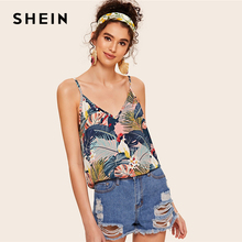 SHEIN Animal Tropical Print Double V Neckline Cami Top Women