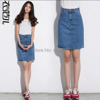 Free Shipping 2015 New Fashion Long Mid Calf Denim Jeans Skirts For Women Pencil European Style