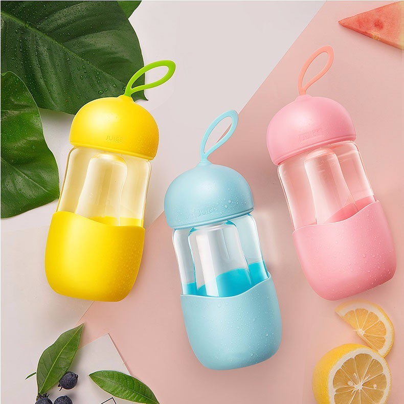 Drinkware Transparent Portable Silicone glass Cup For Student With Silicone Handle Eco-friendly Children Glass Water Bottle
