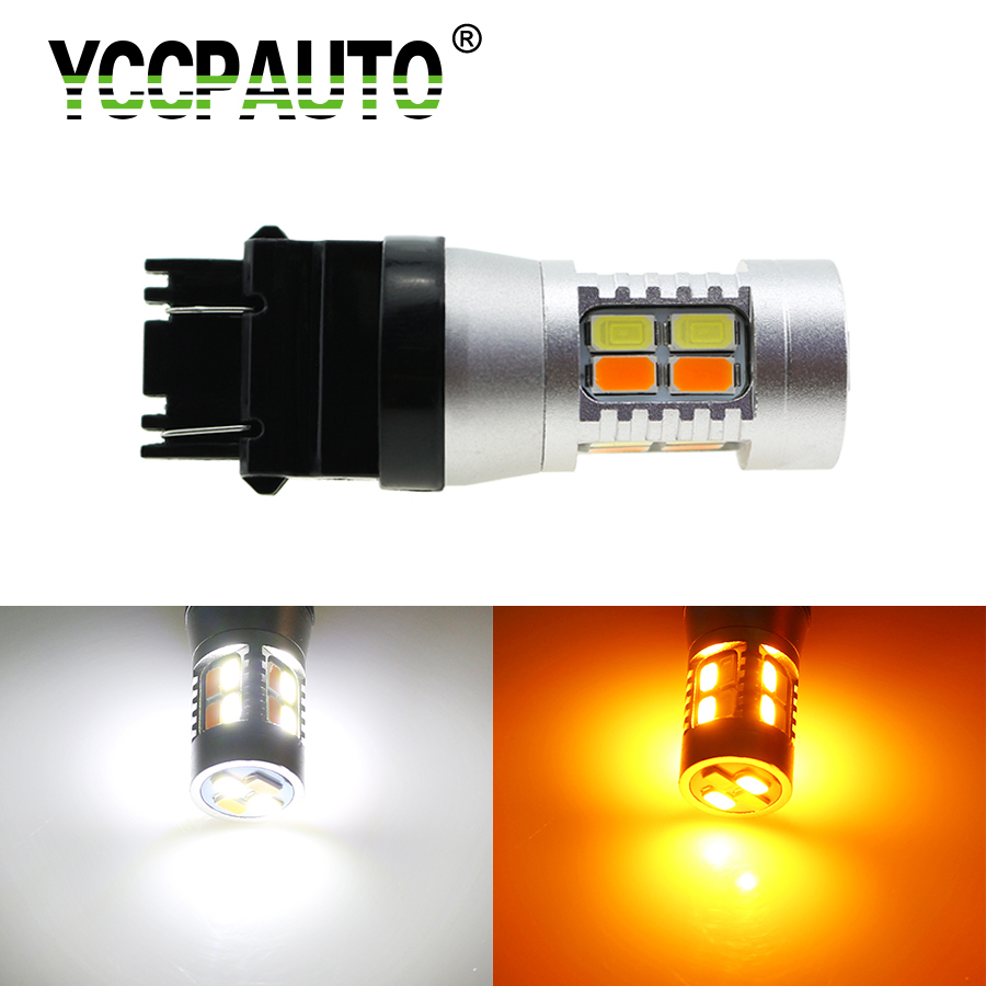 YCCPAUTO T25 3157 LED Tail Light 5630 5730 20SMD Dual Color White/Amber Switchback LED Bulbs Car Turn Signal Lights DRL 1Pcs