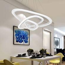 Modern Led Pendant Light Kitchen Dining Living Room Hanging Rope Lamp White Home Lighting Fixtures Lustre Remote Control 220V