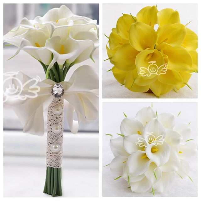 30pcs Calla Lily Flowers Bridal Wedding Bouquets Formal Bridesmaid