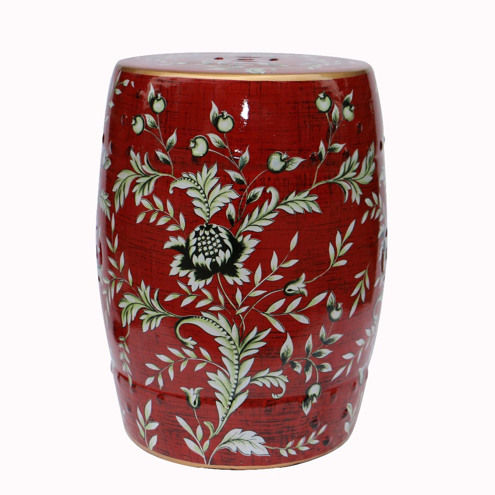все цены на Fashion style chinese ceramic porcelain red stools with flower bird design for home and garden decoration онлайн