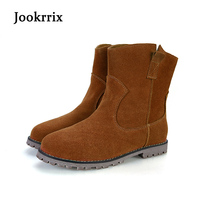 Jookrrix Autumn Winter Fashion Western Style Lady Boot Real Leather Shoe Women Warm Ankle Silp On