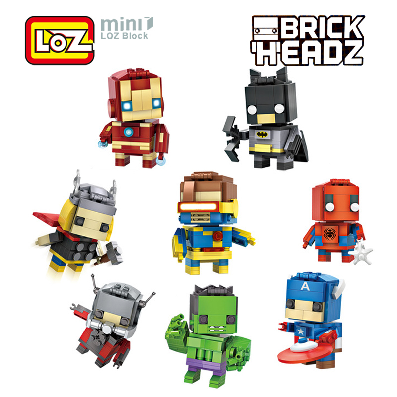 LOZ Mini Super Hero Blocks Batman Captain America Thor Iron Brick Heads Action Figure Assemblage Blocks Toys Offical Authorized