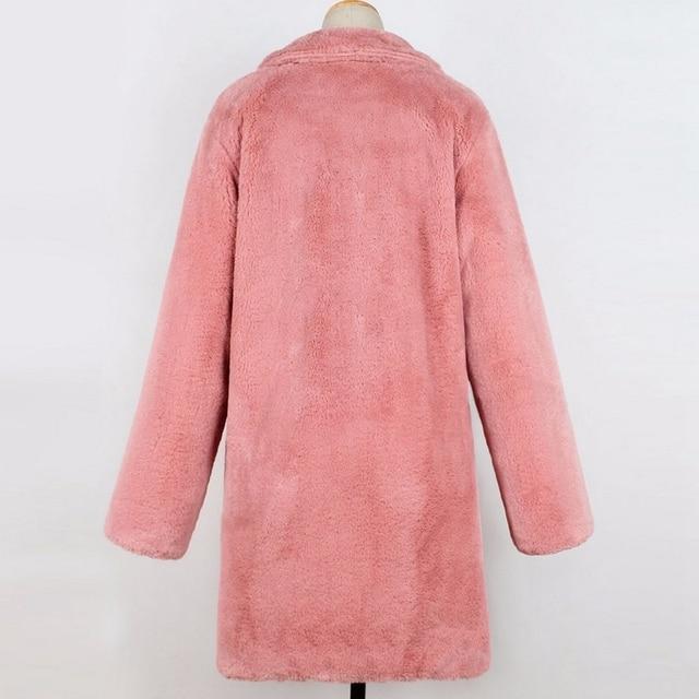 OEAK 2018 Women Faux Fur Long Coat Winter Warm Fluffy Cardigan Jacket Female Casual Soft Plush Teddy Coat Plus Size Pink Outwear 5