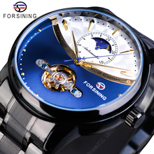 Forsining Automatic Watch Mens Blue Moon Phase Tourbillon Mechanical Watches Black Steel Band Relogio Masculino Waterproof Clock