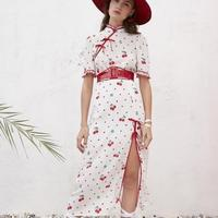 c6e7ae3352 2018 Summer New Vintage Cheongsam Stand Collar Cherry Print Dress With Side  Slit Ladies Casual Short