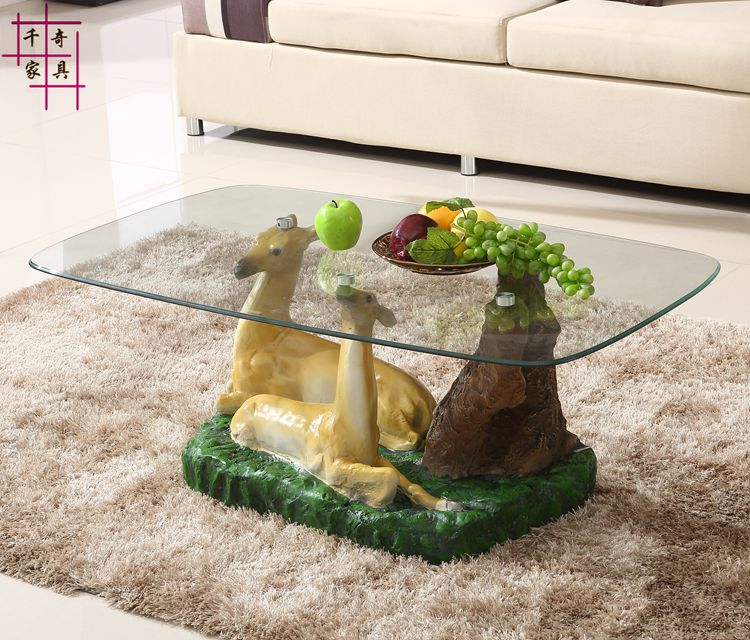 Personality is contracted and contemporary tea table Toughened glass circular pattern assembly The sitting room tea