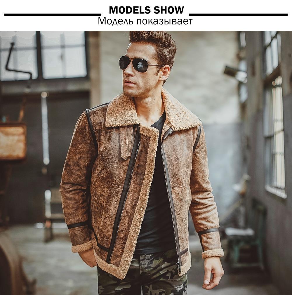Men's real leather jacket motorcycle pigskin Genuine Leather jackets winter warm coat Aviator jacket flight bomber jacket