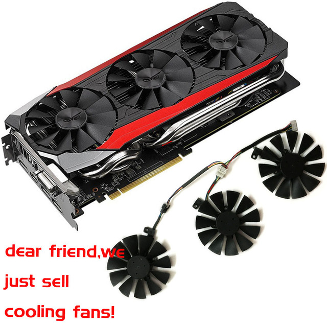 US $11 1 63% OFF|gpu VGA cooler graphics gtx1080 gtx980ti gtx1060 gtx1070  fan for ASUS STRIX GTX 1080/980Ti/1060/1070 Video cards cooling system-in