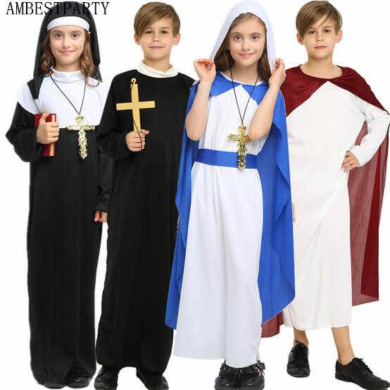 c0ae86be9d8 New Child Adult Cosplay Priest Costume Children Halloween Party Clothing  Mary Dress Jesus Costume Black Nun
