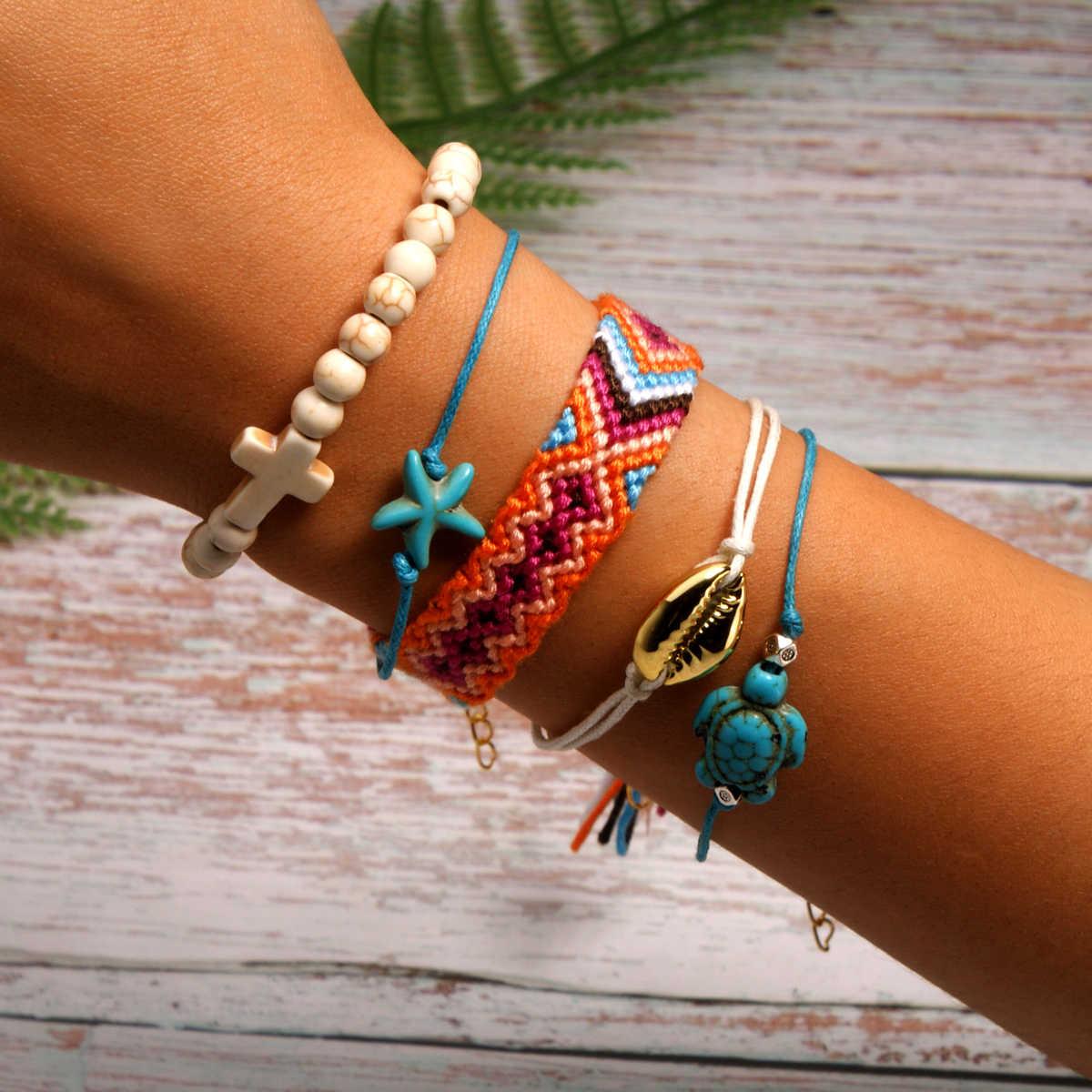 Księżyc dziewczyna 5 sztuk z muszelek bransoletka zestaw Turtle rozgwiazda krzyż koraliki Boho pleciona bransoletka dla kobiet biżuteria przyjaźń Dropship