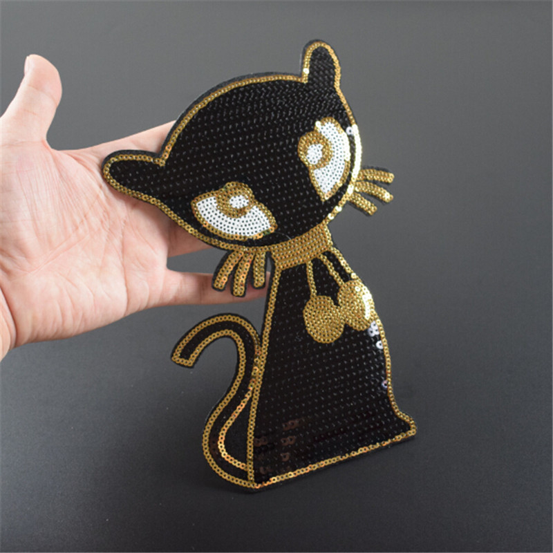 T shirt Women animal patch sequins 22cm cat black deal with it iron on patches for clothing 3d t shirt mens free shipping