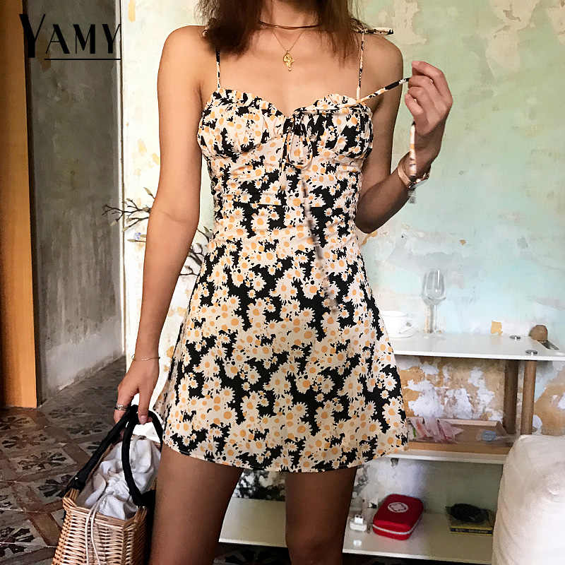 2019 Summer Beach Dress Elegant Vintage Kawaii Yellow Floral Tunic Cami Dress Boho Casual Sundress backless Mini Dress Bohemian