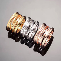 Hot titanium steel jewelry wide version of the shape of titanium steel hollow ring three colors