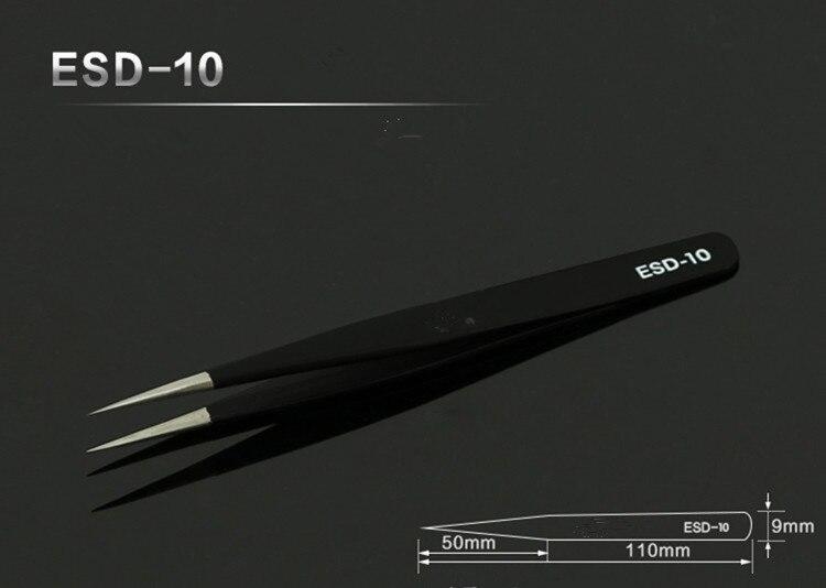 1vnt 11,5cm nerūdijančio plieno pincetai Tikslūs antistatiniai - Įrankių komplektai - Nuotrauka 5