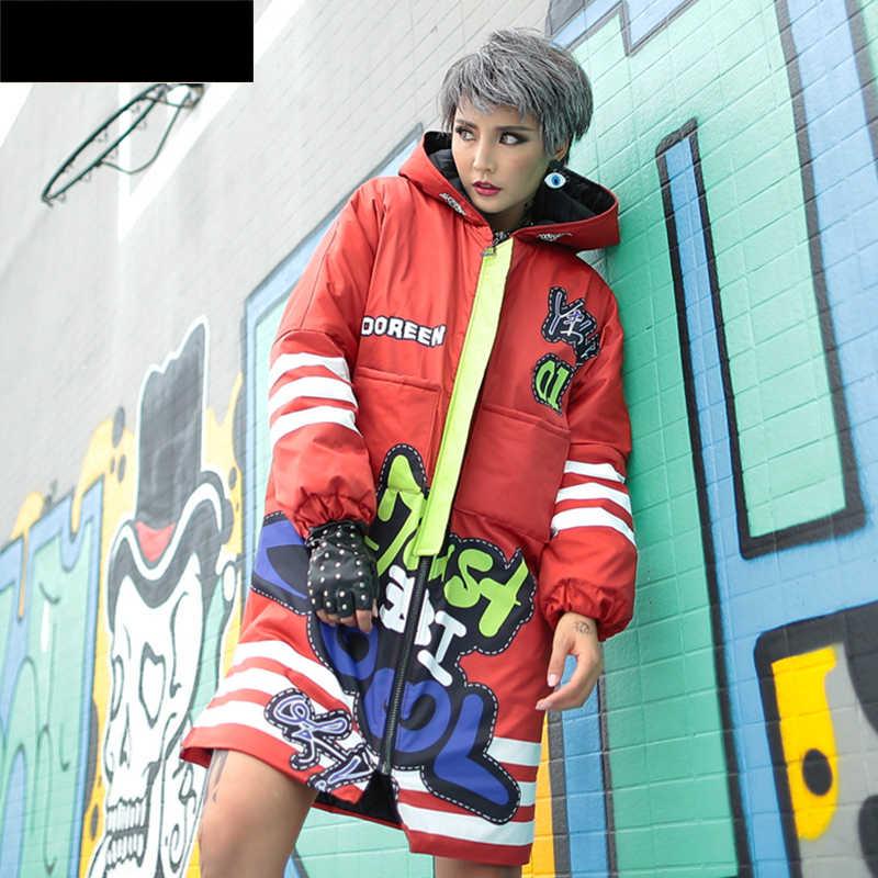 Женская зимняя куртка уличная Стильная парка с капюшоном и принтом из мультфильма женский толстый теплый стеганый ватник пальто Harajuku хип хоп пальто Y627