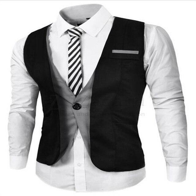 Mens Lazer Plus Size XXL 2016 Vestido de Colete colete Mens Blazer Casuais Falso Dois Preto/Cinza Colete Único Breasted Mens Terno