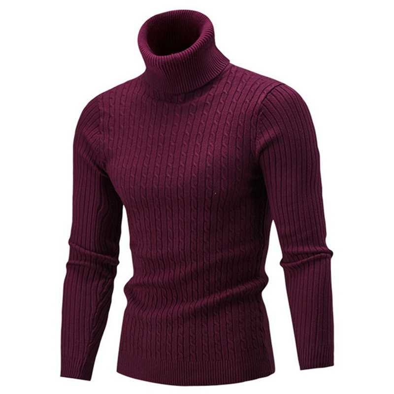 LAAMEI 2018 New Autumn Winter Men'S Sweater Men's Turtleneck Solid Color Casual Sweater Men's Slim  Brand Knitted Pullovers