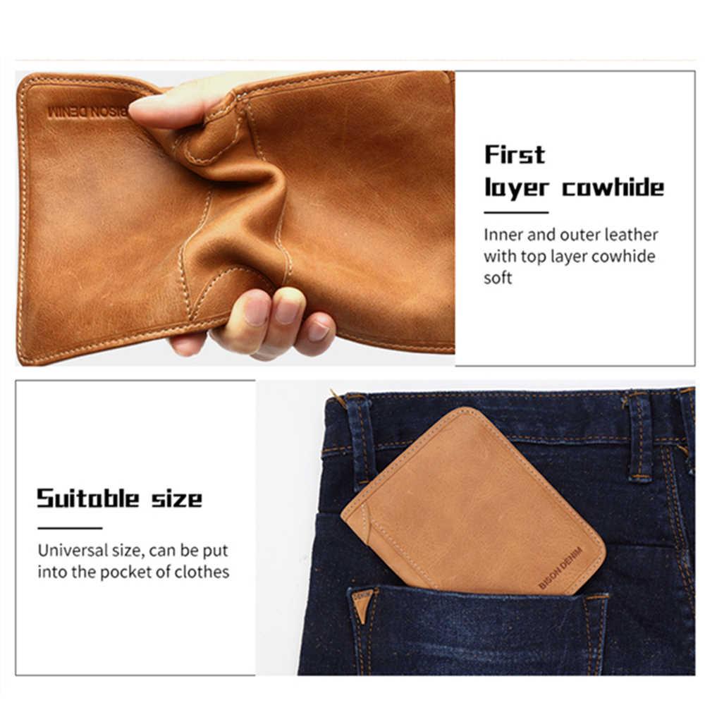 BISON DENIM Genuine Leather RFID wallet Men red brown vintage purse card holder Brand men wallets dollar price Male Purse W4361