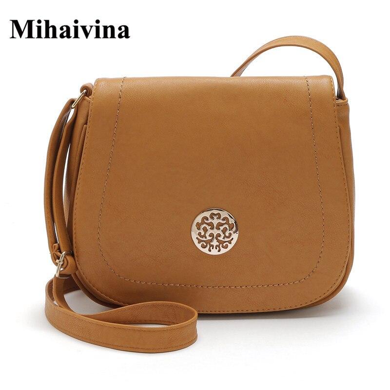 купить Hot Sale Crossbody Bag for Women Casual Soft Cover Messenger Bags Solid Saddle Shoulder Bag High Quality Famous Design Women Bag онлайн