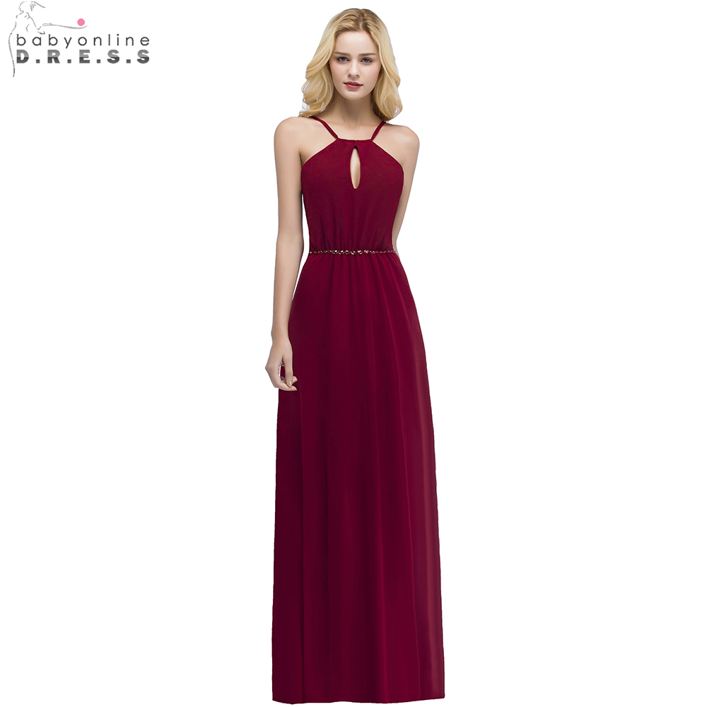 Babyonline Sexy Backless Long Chiffon   Bridesmaid     Dresses   2019 Burgundy Wedding Party   Dresses   robe demoiselle d'honneur