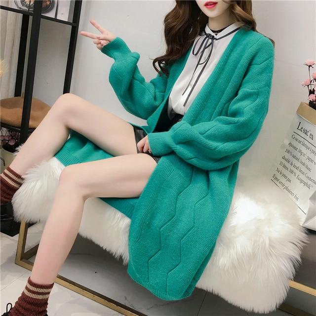 b0fc78081e UPPIN 2018 New Spring Autumn Knitted Sweater Cardigan Women winter Jacket  Loose Big yards joker Long Sweaters coat
