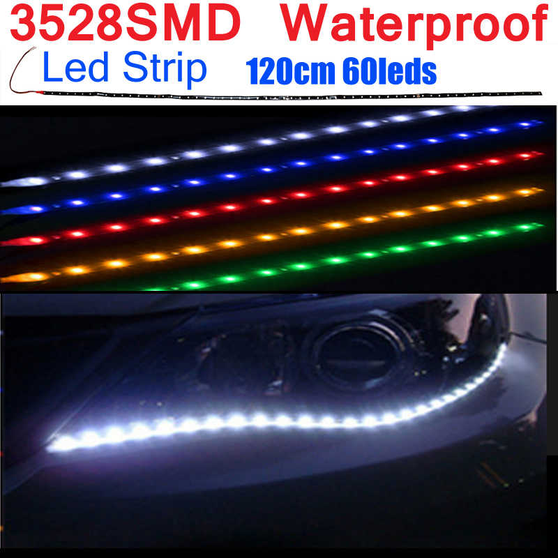SMD 3528 LED Strip Tahan Air Fiexble LED Ribbon Tape Lampu Hangat Putih Biru Merah Hijau Neon LED Tira LED 12 V Blanca
