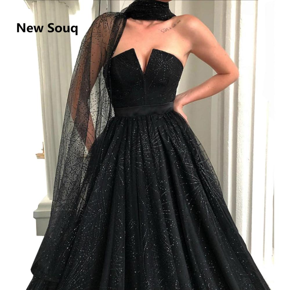 Custom Made Black Strapless Backless Evening Dresses Stunning Sequins Sweep Train Long Prom Dress Saudi Arabic Evening Gowns