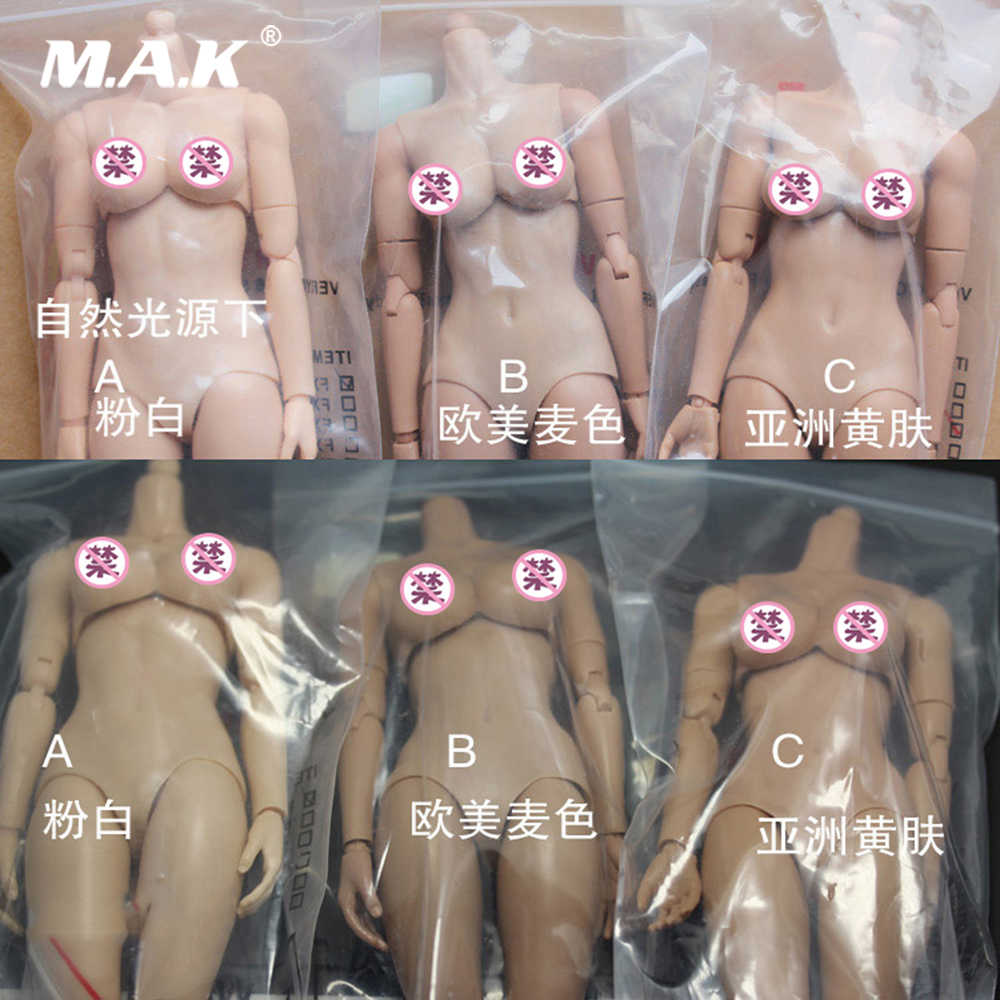 "1/6 Scale Female Figure Body Model Medium Chest FX02 Pinkish/European and American/Asian skin Model for 12"" Action Figure Doll"